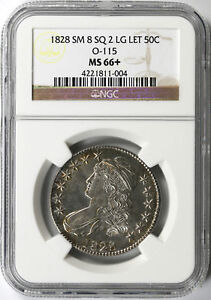 Click now to see the BUY IT NOW Price! 1828 SMALL 8 SQUARE 2 LARGE LETTERS 50C CAPPED BUST HALF DOLLAR O 115 NGC MS66