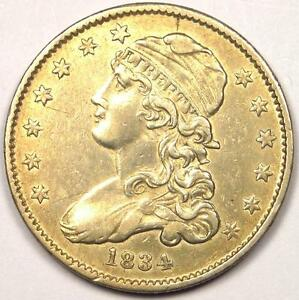 1834 CAPPED BUST QUARTER 25C   AU DETAILS    EARLY DATE TYPE COIN