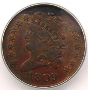 1809 CLASSIC HEAD HALF CENT   ICG AU55    EARLY DATE COIN