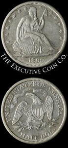 1869 S SEATED HALF DOLLAR CHOICE XF DETAILS NICE STRIKE