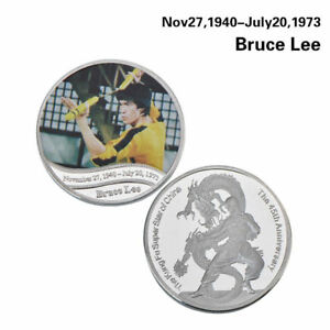 WR CHINESE KUNG FU STAR BRUCE LEE IN YELLOW TRACK SUIT SILVER COMMEMORATIVE COIN