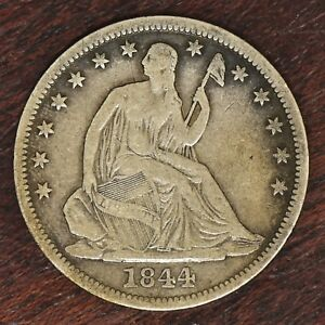 1844 O LIBERTY SEATED HALF DOLLAR   VF DETAILS  10592