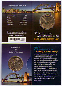 2007 DOLLAR RAM $1 UNC COIN S MINTMARK   75TH ANNIV. SYDNEY HARBOUR BRIDGE