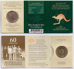 2009 RAM $1 UNC C MINTMARK   60 YEARS OF AUSTRALIAN CITIZENSHIP