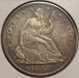 1848 O SEATED LIBERTY HALF DOLLAR ALMOST UNCIRCULATED   DISCOUNTED   0823 08