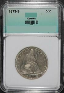 Click now to see the BUY IT NOW Price! 1873 S WITH ARROWS SEATED HALF DOLLAR AU/BU