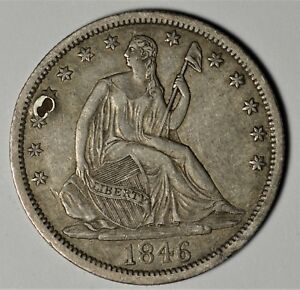 1846 O TALL DATE SEATED LIBERTY HALF DOLLAR  SEE DESCRIPTION FOR CONDITION AOM