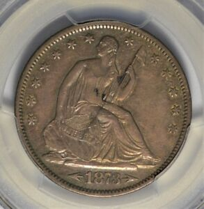 1873 S SEATED HALF DOLLAR PCGS XF 45 SUPER TOUGH DATE   AOF