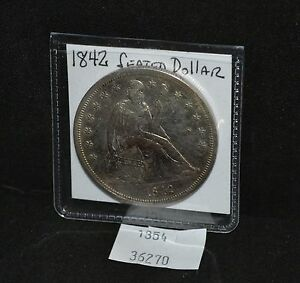 WEST POINT COINS   1842 SEATED LIBERTY DOLLAR AU
