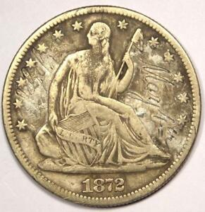1872 CC SEATED LIBERTY HALF DOLLAR 50C   STRONG DETAILS    CARSON CITY COIN