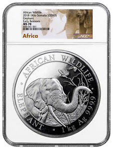 Click now to see the BUY IT NOW Price! 2018 SOMALIA 1 KILO SILVER ELEPHANT SH2 000 COIN NGC MS70 ER SKU51589