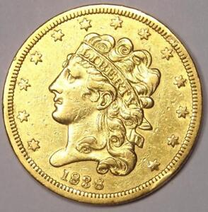 1838 GOLD HALF EAGLE $5   SHARP DETAILS    EARLY CLASSIC GOLD COIN