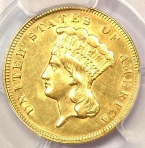 1878 THREE DOLLAR INDIAN GOLD PIECE $3   CERTIFIED PCGS AU DETAILS    COIN