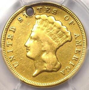 1854 THREE DOLLAR INDIAN GOLD PIECE $3   PCGS VF DETAILS  HOLED     COIN