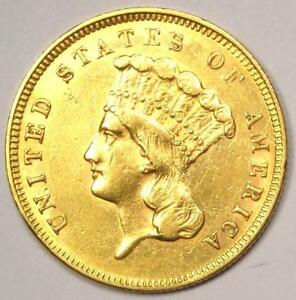 1859 INDIAN THREE DOLLAR GOLD COIN  $3    AU DETAILS    DATE COIN