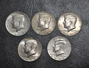 LOT OF 5 KENNEDY HALF DOLLARS 1972 1974 1976 1980 1993 COLLECTIBLE COINS