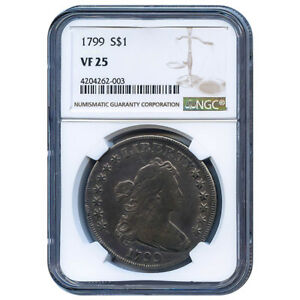 CERTIFIED DRAPED BUST DOLLAR 1799 VF25 NGC