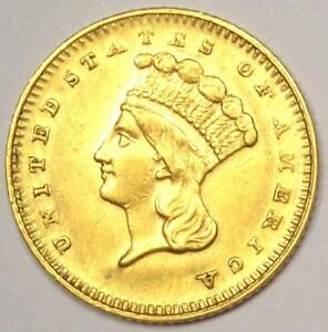 1879 INDIAN DOLLAR GOLD COIN  G$1    SHARP AU / UNC DETAILS    DATE COIN