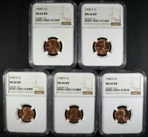 5   1968 S LINCOLN CENTS NGC MS66 RD