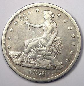 1876 S TRADE SILVER DOLLAR T$1   SHARP DETAILS    EARLY TYPE COIN
