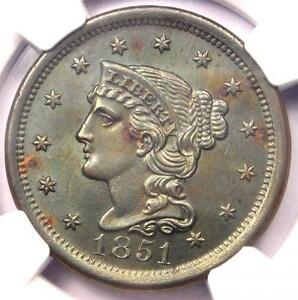 1851 BRAIDED HAIR LARGE CENT 1C   NGC UNCIRCULATED DETAIL    MS BU UNC PENNY