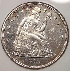 1859 O SEATED LIBERTY SILVER DOLLAR $1   ANACS MS60 DETAILS    IN UNC