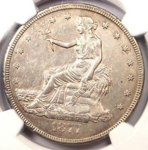 1877 S TRADE SILVER DOLLAR T$1   CERTIFIED NGC AU DETAILS CHOP MARK    COIN