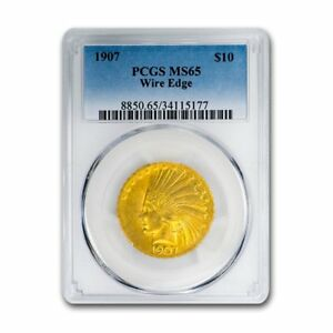 Click now to see the BUY IT NOW Price! 1907 $10 INDIAN GOLD EAGLE MS 65 PCGS  WIRE EDGE    SKU156726