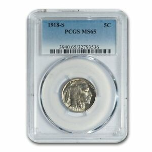 Click now to see the BUY IT NOW Price! 1918 S BUFFALO NICKEL MS 65 PCGS   SKU157164