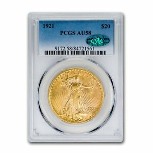Click now to see the BUY IT NOW Price! 1921 $20 SAINT GAUDENS GOLD DOUBLE EAGLE AU 58 PCGS CAC   SKU158274