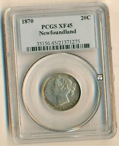 Click now to see the BUY IT NOW Price! 1870 NEW FOUNDLAND  20CENTS  COIN PCGS GRADED   XF45  OOAK