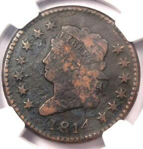 1814 CLASSIC LIBERTY LARGE CENT  S 295 1C PLAIN 4    NGC VF DETAIL    DATE