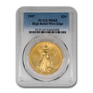 Click now to see the BUY IT NOW Price! 1907 $20 SAINT GAUDENS GOLD HIGH RELIEF WIRE EDGE MS 65 PCGS   SKU162721