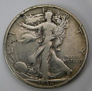 1936 S WALKING LIBERTY SILVER HALF DOLLAR F NICE TONE AND DETAILS 55