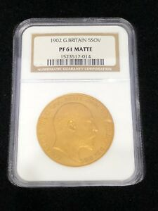 Click now to see the BUY IT NOW Price! 1902 GREAT BRITAIN EDWARD VII 5 POUNDS PROOF GOLD NGC PF61 MATTE