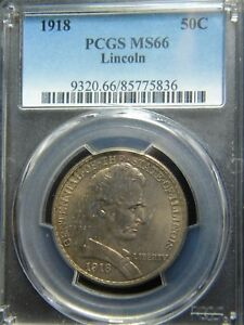 Click now to see the BUY IT NOW Price! 1918 ILLINOIS CENTENNIAL HALF DOLLAR   3LINCOLN   PCGS GRADED TO MS 66   EOO
