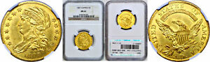 1807 $5 GOLD COIN NGC MS 61 CAPPED BUST TO LEFT