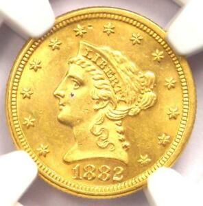 1882 LIBERTY GOLD QUARTER EAGLE $2.50   NGC UNCIRCULATED DETAIL   MS UNC COIN