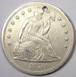 1870 CC SEATED LIBERTY SILVER DOLLAR $1   XF DETAILS  HOLED    CARSON CITY COIN