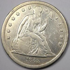 1843 SEATED LIBERTY SILVER DOLLAR $1   XF/AU DETAILS    EARLY TYPE COIN