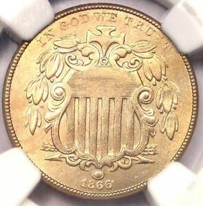 1866 RAYS SHIELD NICKEL 5C   NGC UNCIRCULATED DETAILS UNC MS    RAYS VARIETY