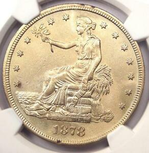 1878 S TRADE SILVER DOLLAR T$1   CERTIFIED NGC AU DETAILS    CERTIFIED COIN