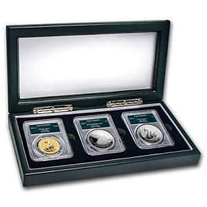 Click now to see the BUY IT NOW Price! 2018 AUSTRALIA SWAN 3 COIN SET MS/PR 70 PCGS  FS SWAN LABEL    SKU166861