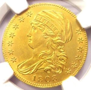 1808 CAPPED BUST GOLD HALF EAGLE $5   NGC UNCIRCULATED DETAILS  UNC MS