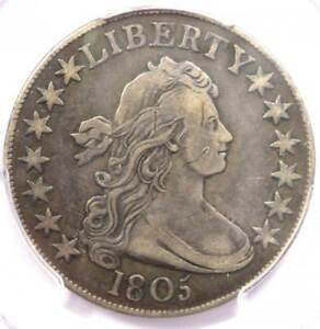1805 DRAPED BUST HALF DOLLAR 50C   PCGS VF DETAILS    CERTIFIED COIN