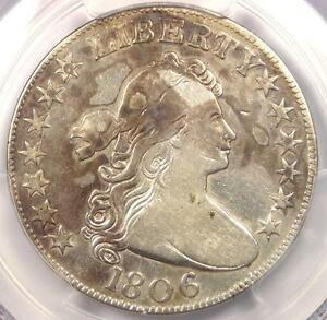 1806 DRAPED BUST HALF DOLLAR 50C COIN  KNOB 6 SMALL STARS    PCGS VF DETAILS