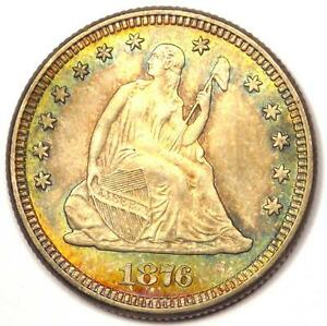 1876 SEATED LIBERTY QUARTER 25C   SHARP DETAILS   NICE LUSTER AND RAINBOW TONE