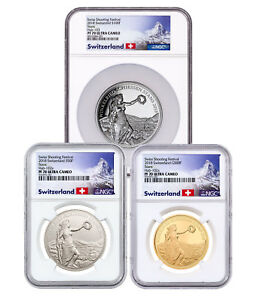 Click now to see the BUY IT NOW Price! 2018 SWITZERLAND SHOOTING THALER WINKELREID 3 COIN SET NGC PF70 UC SKU52771