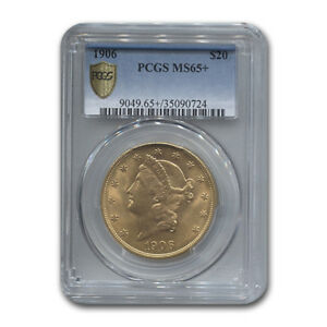 Click now to see the BUY IT NOW Price! 1906 $20 LIBERTY GOLD DOUBLE EAGLE MS 65  PCGS   SKU169185