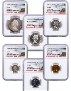 Click now to see the BUY IT NOW Price! 1954 CANADA PROOF LIKE 6 COIN SET NGC GRADED PL 65 TO PL 67
